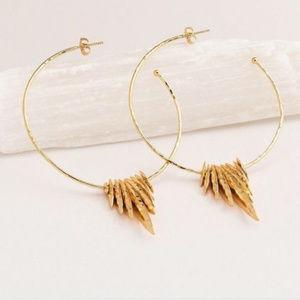 New in Box Gorjana Gold Nora Fan Hoop earrings